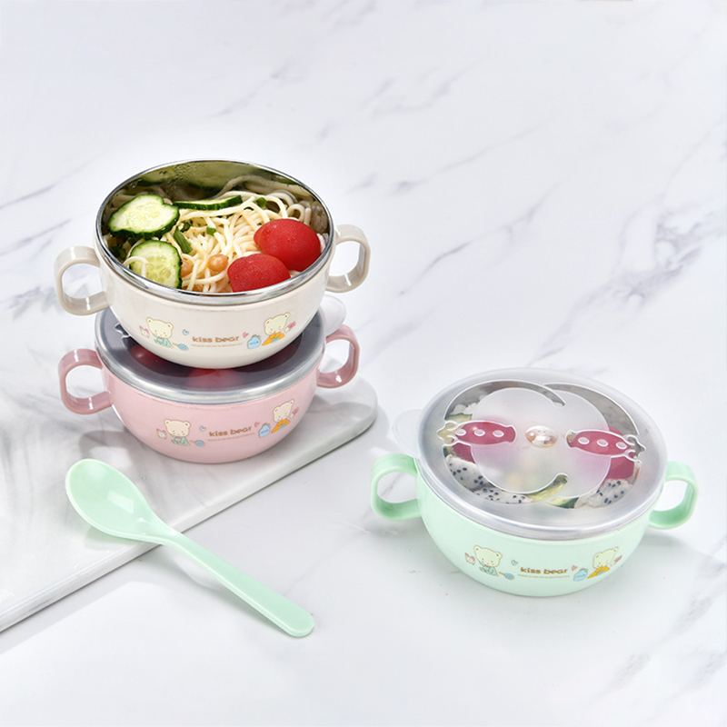 Baby Bowl Stainless Steel Insulation Bowl Spoon Set Children Tableware Cartoon Printed Children Food Bowl BPA Free New Arrival