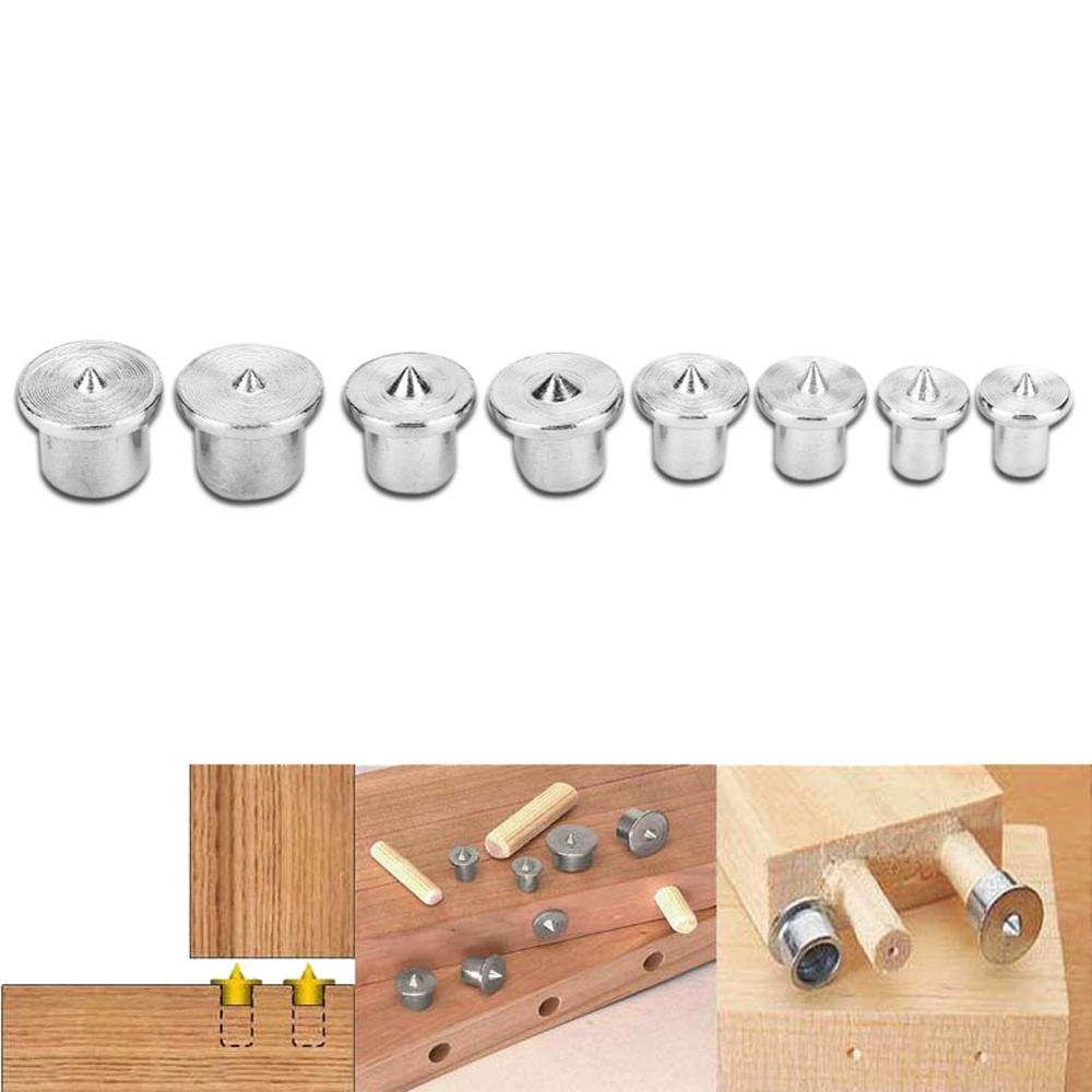 8pcs 6/8/10/12mm Woodworking Dowel Centers Tenon Alignment Tools Points Marker Solid Dowel Pins Center Point Set Wood Working