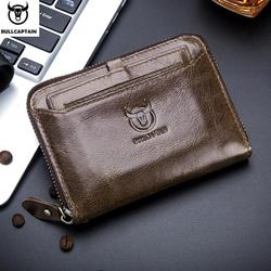 BULLCAPTAIN 2019 male wallet Genuine Leather Men Wallet gift birthday for man Brand High Quality Zipper wallet Card Coin wallet