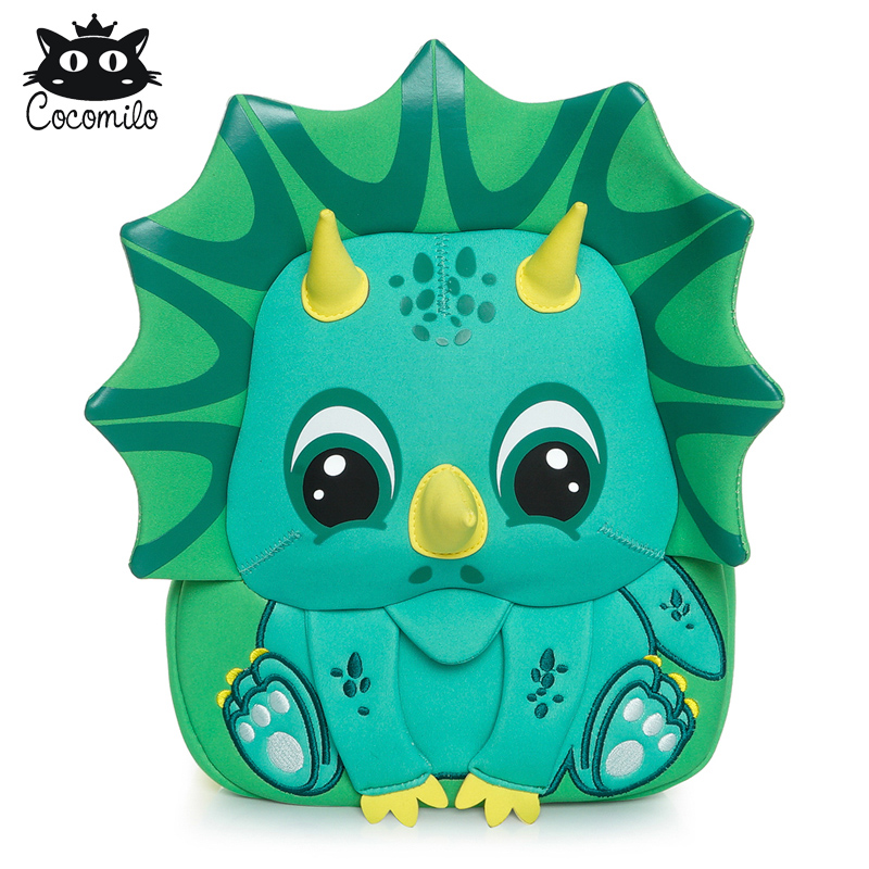 Cocomilo 3D Stylish Triceratops Bag for Boys Age 3-6 Toddler Backpack Green Dinosaur Print Kindergarten Kids Bags 2019 No Smell