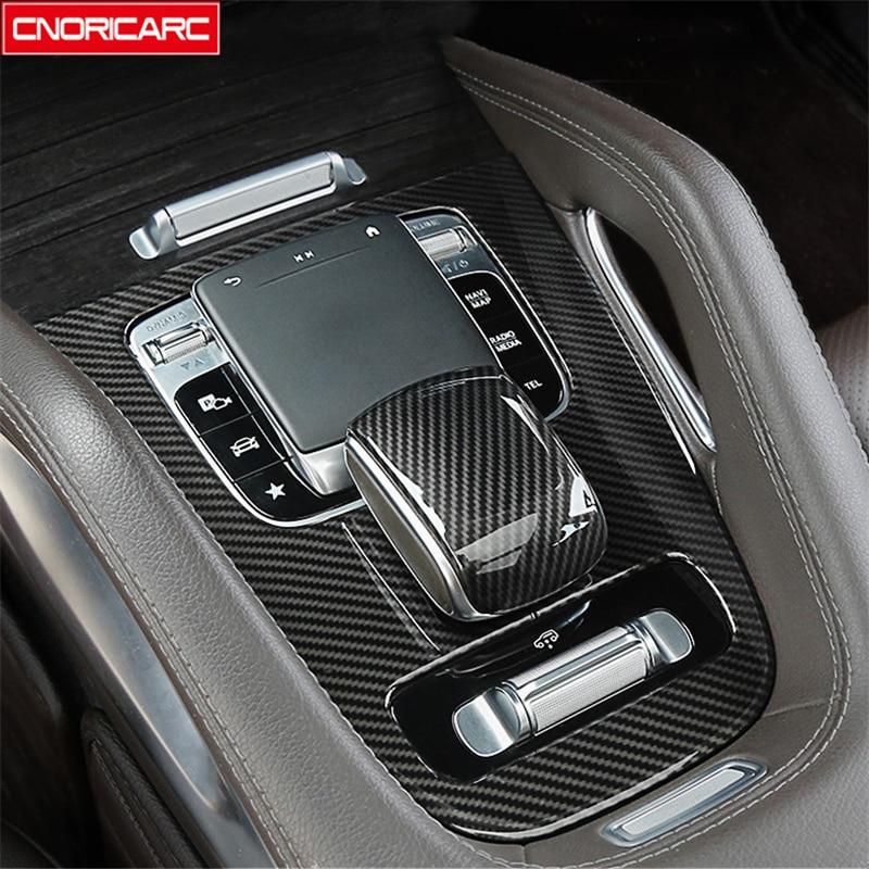 Carbon Fiber Color Gear Shift Panel Cover Trim For Mercedes Benz GLE W167 GLS 2020 Car Styling Air Vents Decoration Accessories