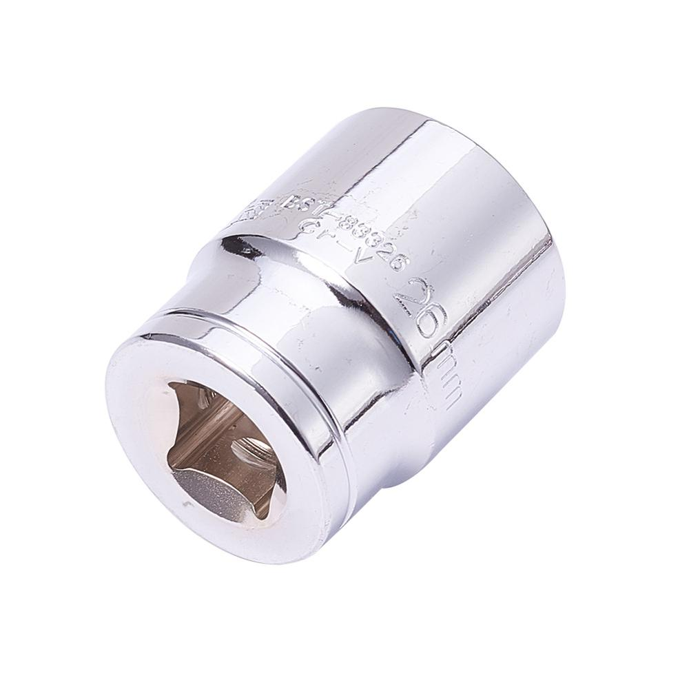 Utoolmart Hand Tools 1/2 Drive 26mm Chrome-vanadium Steel Total Length 38mm 6 Point Axle Nut Hex Socket Hexagonal Plum Sleeve