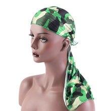 Moda Camouflage stampato coda lunga cappello da pirata raso setoso Durags Bandana da uomo Durags setoso cappello turbante copricapo regolabile