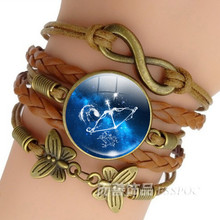 12 Zodiac Sign Leather Bracelet Bangle Virgo Libra Scorpio Sagittarius Constellation Jewelry Birthday Gift for Women Men