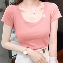 2021 New Summer Short Sleeve Tee Shirt Solid Basic T Shirt Women Casual O-Neck Cotton Top Female Ladies Clothes Femme Pink Sexy
