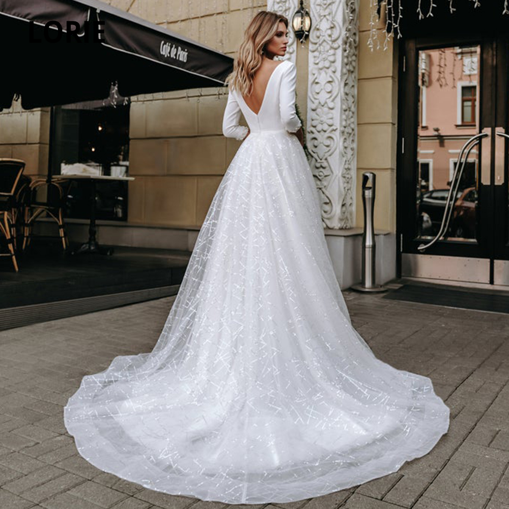 LORIE 3/4 Sleeve Wedding Dresses Lace 2019 Sexy V-neck Satin Bridal Gowns Custom Made Elegant Wedding Gowns Plus Size Gelinlik