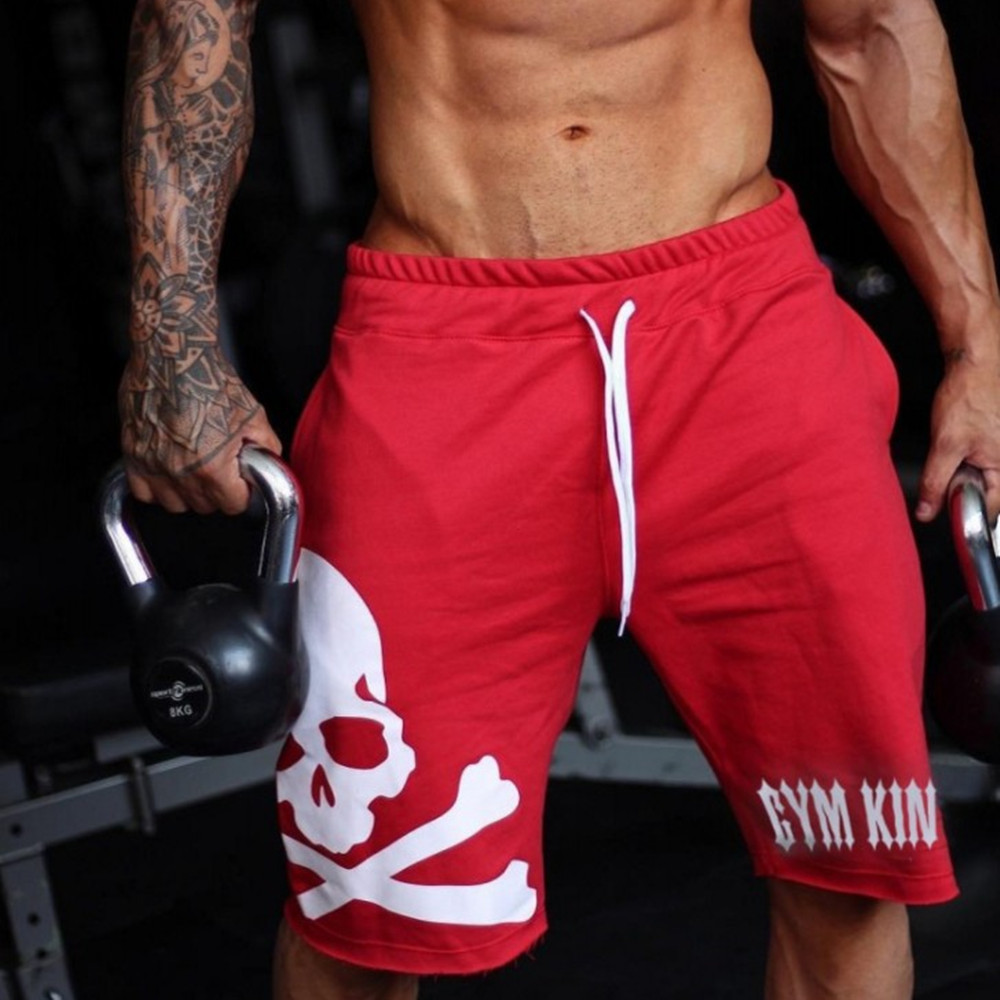 Fitness Casual 5 Points Shorts Men Fashion Loose Beach Pants Breathable Quick-drying Personality Skull Printing Shorts