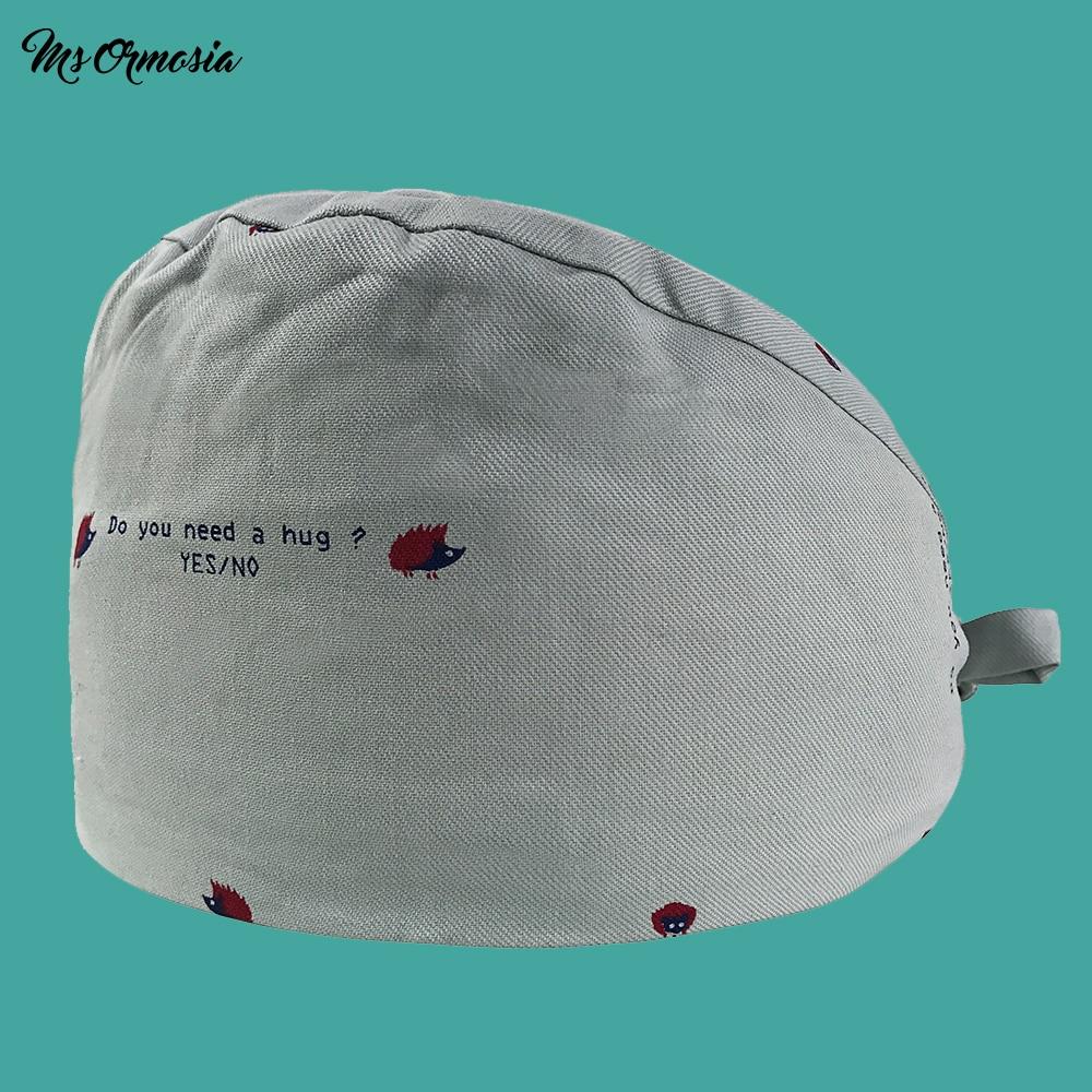 MSORMOSIA New Cotton Scrub Cap For Women And Men Hospital Medical Hats Print Cotton Unisex Home Nursing Cap Medical Surgical Hat