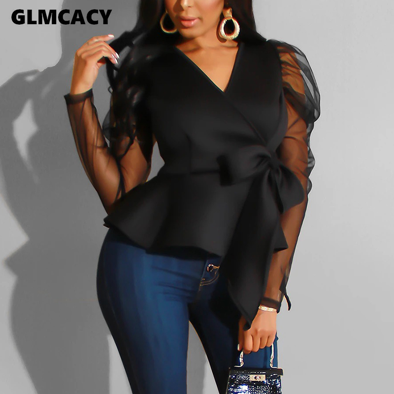 Women Plus Size Mesh Splicing V-neck Long Sleeve Bow Design Top Blouse Elegant Spring Fall Office Lady Solid Shirt