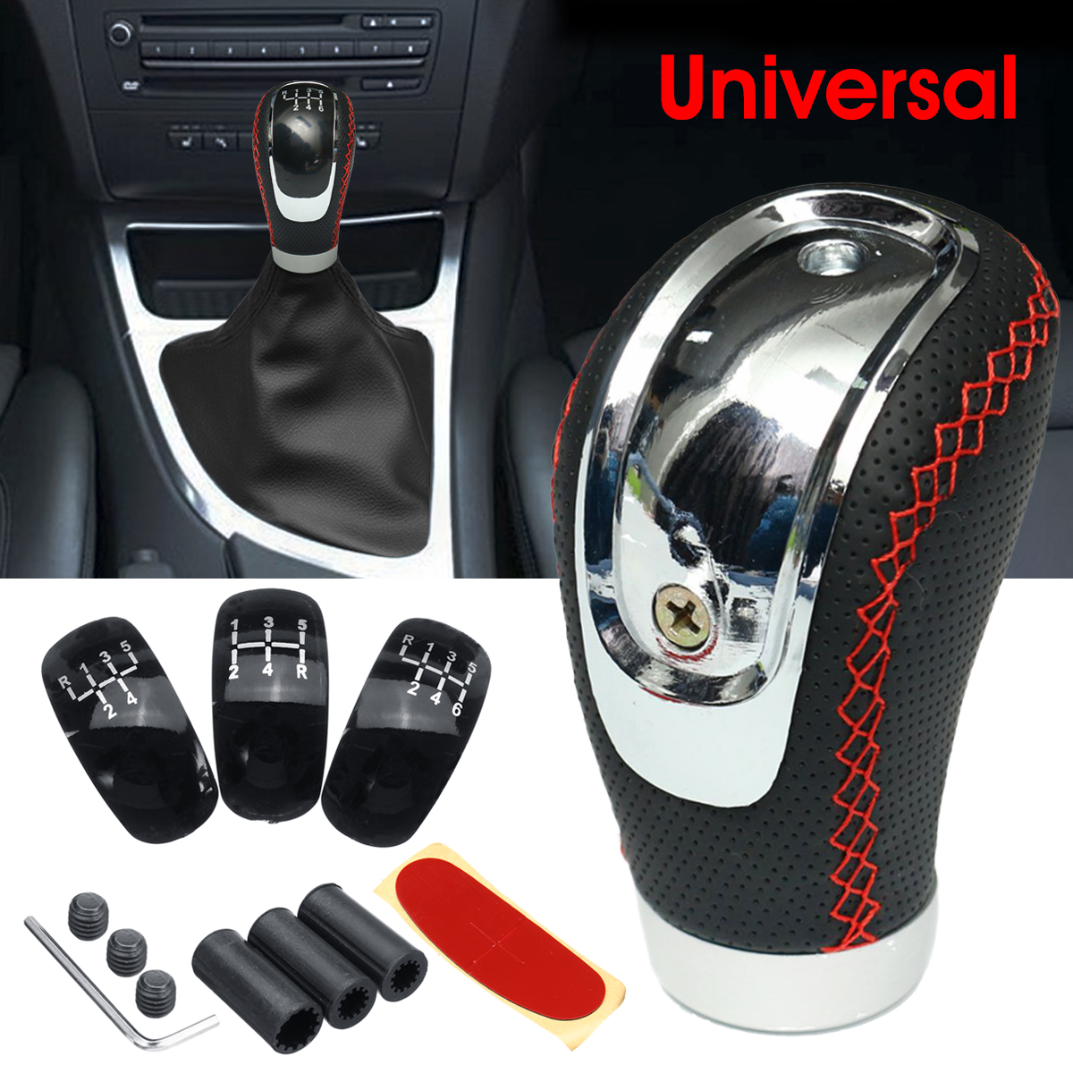Shifter Adapter Universal 5 Speed Manual Metal Chrome Gear Shift Knob Lever Stick Pen Handle Head Car Styling Accessories Racing Style Black