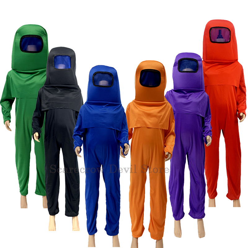 New Among Us Costume Anime Game Children Halloween Party Cosplay Costumes Kids Boys Role Play Dress Up Mask Funny Bodysuit Set