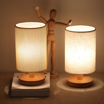 цены USB plug Small table lamp Simple modern bedroom Bedside lamp Solid wood decoration Night light led Warm light Creativity