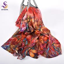 [BYSIFA]Women Luxury Silk Scarf Headscarf New Brand National Red Long Scarves Shawls Ladies Floral Style Fashion Pure