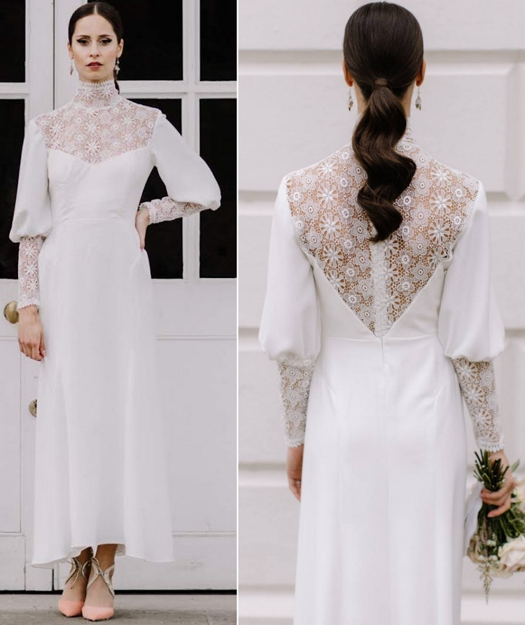 Stand Collar Illusion Back Puff Sleeve Satin Ankle Length Wedding Dress