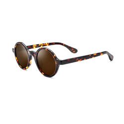 Round Women Polarized Sunglasses Brown/Black/White Frame UV400 Famale Driving Glasses With Box