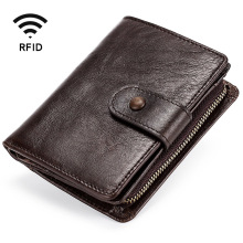 Men #8217 s Wallet Fashion Short Wallet Men #8217 s Leather Multifunction Coin Leather RFID Buckle Casual Retro Wallet Coin Purse Card Case cheap YOUSE Genuine Leather Cow Leather 0 1kg Polyester Solid Vintage Interior Compartment Coin Pocket Passcard Pocket Photo Holder