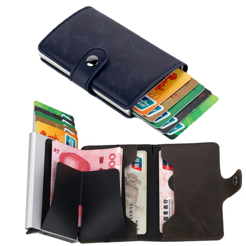New Credit Card Holder Wallet Men Women Metal RFID Vintage Aluminium Bag Crazy Horse PU Leather Bank Cardholder Case