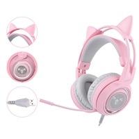 SOMIC G951 Pink Cat Headphones Virtual 7.1 Noise Cancelling Gaming Headphone Vibration LED USB Headset for Live PC