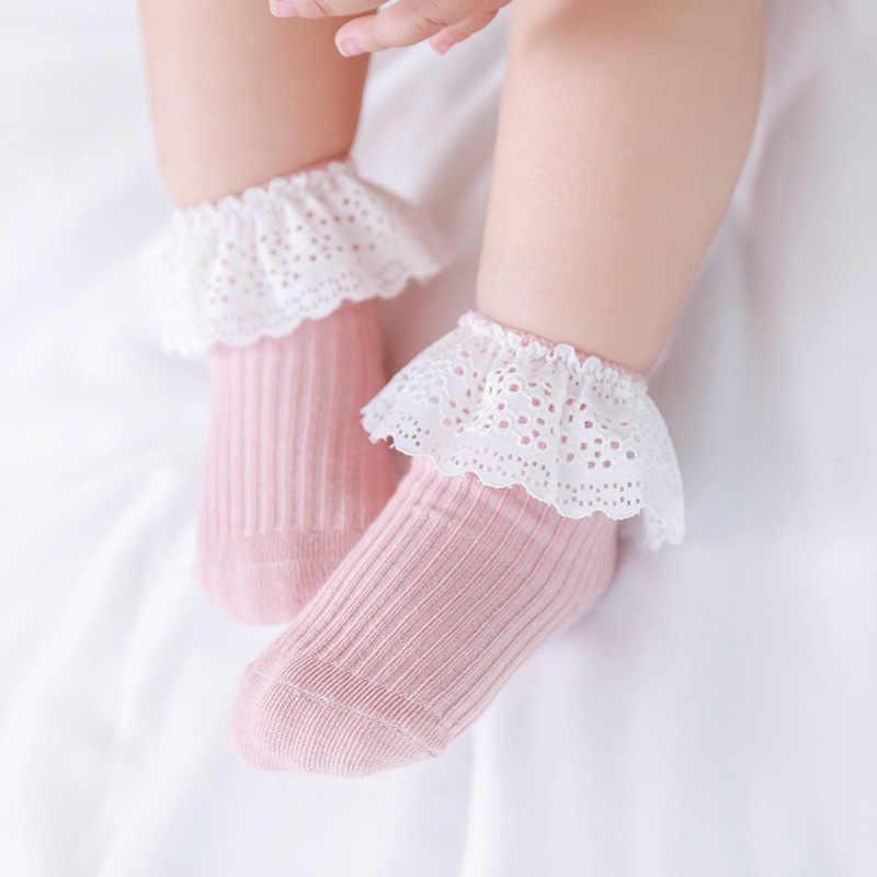 Girls soft warm Comfortable Lace Cute Cotton Princess Sock Solid Color Socks