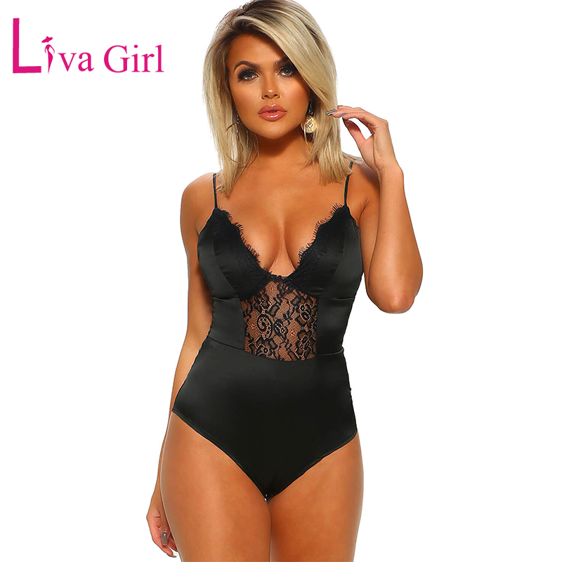 LIVA GIRL Irresistible Black Satin Floral Lace Bodysuit For Women Summer Sexy Backless Sleeveless Bodysuits Female Club Body Top