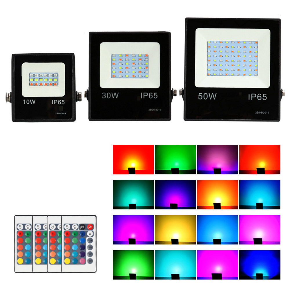 10W 30W 50W RGB LED Floodlight Spotlight Garden Security Light Waterproof AC 220V Reflector Projector Lamp With Remote Control