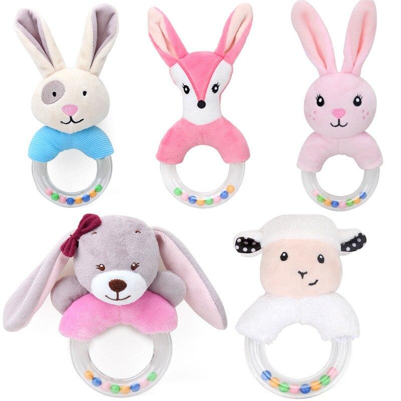Baby Rattle Cartoon Rabbit Sheep Animal Plush Rattle Ring Bell Newborn Hand Grasp Toy Soft Mobile Infant Crib Dolls For Kids