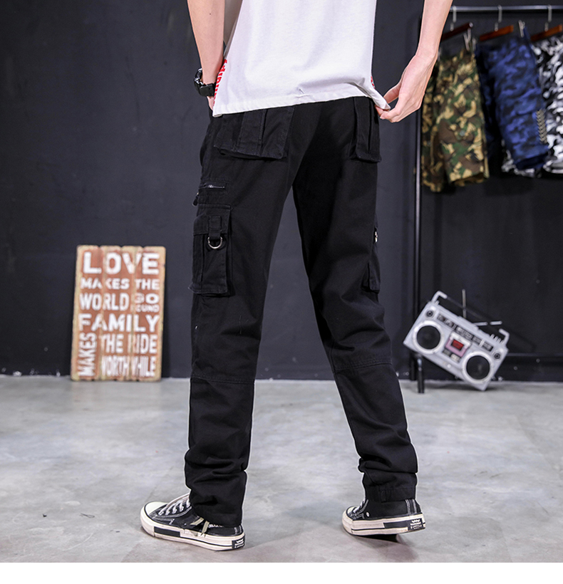 KSTUN Men's Cargo Pants Multi-pockets Baggy Side Zippers Men Cotton Pants Casual Outdoors Overalls Tactical Trousers Loose Male Pants 22