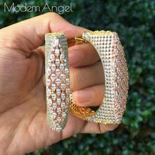 ModemAngel boucles doreilles en zircone cubique pour femmes, bijoux de luxe de fleurs AAA, largeur de fête
