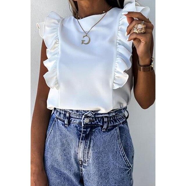 Plus Size S-3XL Summer Women Clothing Ruffles Solid O Neck Casual Slim Short Sleeve Blouse Shirt Harajuku Ladies Tops SJ6197M 1