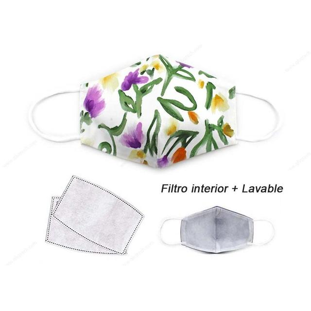 Face mask with drawing, protective mask cloth adult PM 2,5, mouth mask covering washable and storage reusable 3