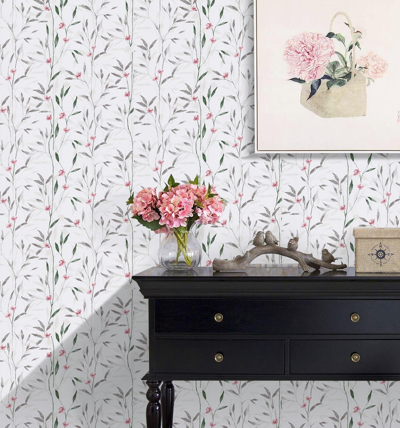 Haokhome Victoria Floral Wallpaper Wall Murals Beige Green Red