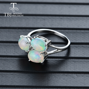 Image 4 - Tbj, 3 חתיכה למעלה איכות אופל טבעת סגלגל 6*8mm 2.8ct חן תכשיטים 925 סטרלינג כסף מתנה נשים אשת חברה