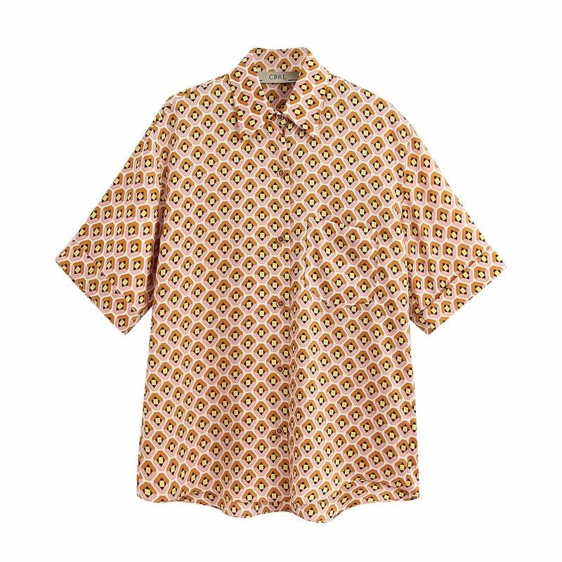 2020 Summer Women Casual Blouses Shirts Tops Short Sleeve Pockets Geometric Print Shirt Female Loose Street Tops Blusas Camisa