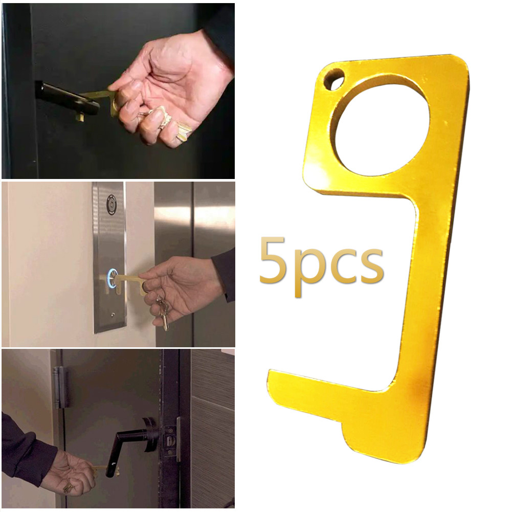 5pcs Outdoor Hand Edc Door Opener Antimicrobial Brass Portable Press Elevator Tool Door Handle Key For Home Safety Protect Tool