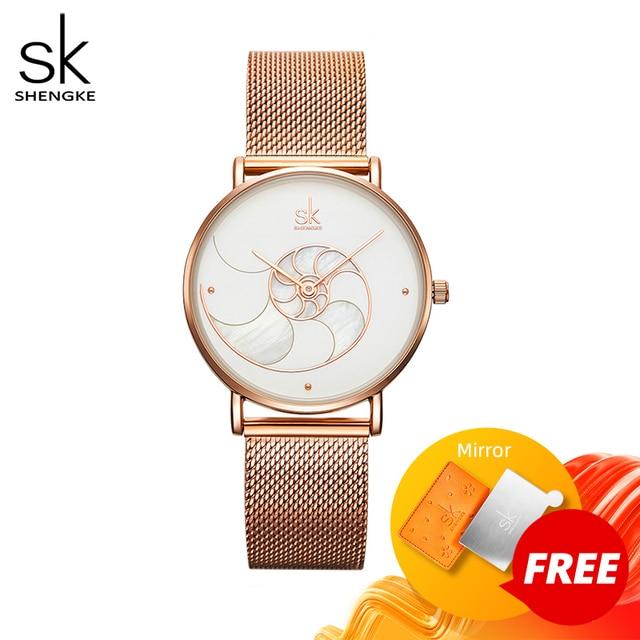 Shengke 여자 패션 쿼츠 시계 레이디 메쉬 손목 시계 아내를위한 고품질 캐주얼 방수 손목 시계 선물 2020