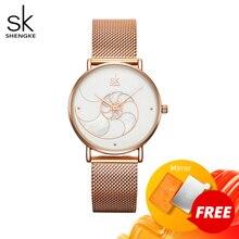 Shengke Women Fashion Quartz Watch Lady Mesh Watchband High Quality Casual Waterproof Wristwatch Gift for Wife 2020
