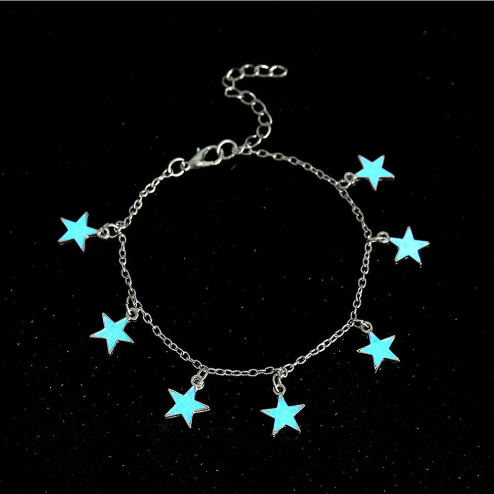 Glow In The Dark Star Chain Anklet Luminous Ankle Bracelet Women Leg Bracelet Barefoot Sandal Foot Chain Beach Jewelry