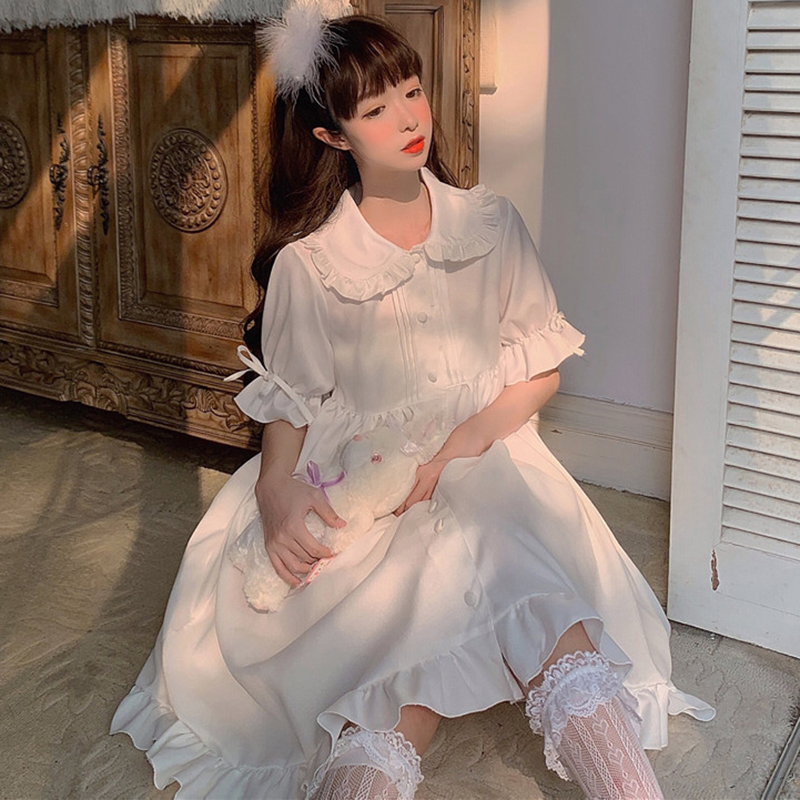Sweet Cute Doll Collar Ruffled Short Sleeve Long Dress Children Summer 2020 New  Gothic Lolita  Victorian Dress  Lolita Skirt
