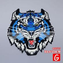 GUGUTREE embroidery big tiger patches animal badges applique for clothing DX-39