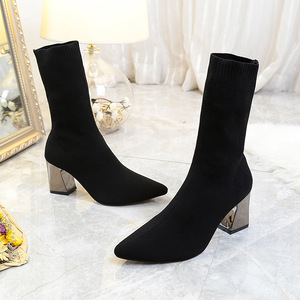 Image 4 - New Ankle Boots Autumn Pointed Toe Stretch Knitting Sock Boots Plus Size High Heels Female Slip On Lady Shoes Hot Fashion Shoe