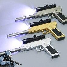 Forma de arma bonito led luz gel caneta recarga preto papelaria material escolar