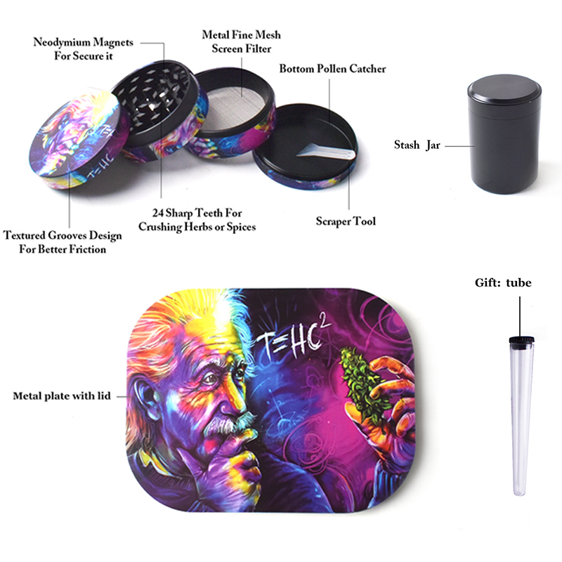 Rolling Tray Weed Grinder Set with Magnetic Lid 18X14cm Rolling Papers Tobacco Grinders Metal Trays Kit Smoking Accessories 3