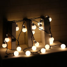 Hook Round Bulbs 6M 20LEDs Festoon Party Fairy String Lights for Indoor Outdoor with Milky White Lampshade BZ531(China)