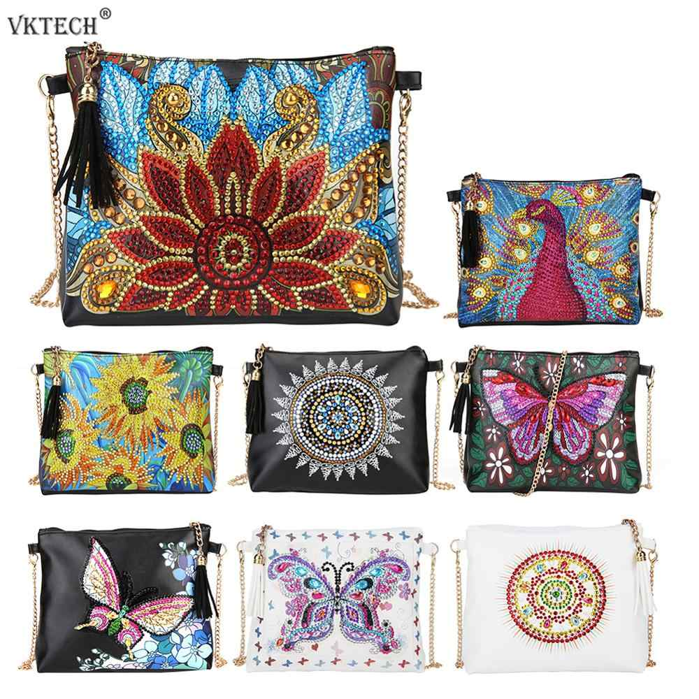 DIY Special Shaped Diamond Painting Leather Crossbody Bags Chain Clutch Girlfriend Women Shoulder Bag Diamond Embroidery Craft