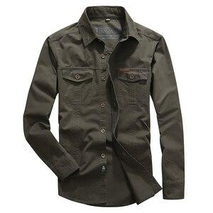 Image 4 - VINRUMIKA 2020 Plus größe M 5XL Herbst männer casual marke armee grün langarm shirt mann frühling 100% reine baumwolle khaki shirts