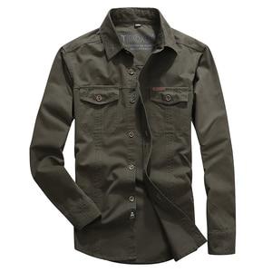 Image 4 - VINRUMIKA 2020 Plus size M 5XL Autumn mens casual brand army green long sleeve shirt man spring 100% pure cotton khaki shirts