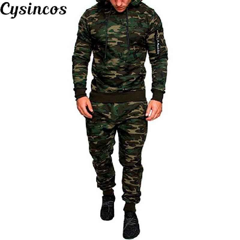 CYSINCOS Men Camouflage Printed Set 2019 New Causal Patchwork Jacket Tracksuit Sportswear Hoodies Sweatshirt Pants Jogger Suit