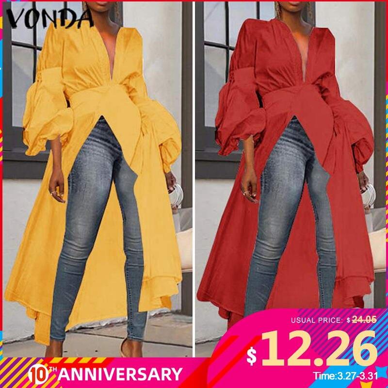 2020 VONDA Women Autumn Long Sleeve Fashion Long Shirt Blouses Irregular Tunic Tops Blusas Femininas Plus Size Party Shirts 5XL