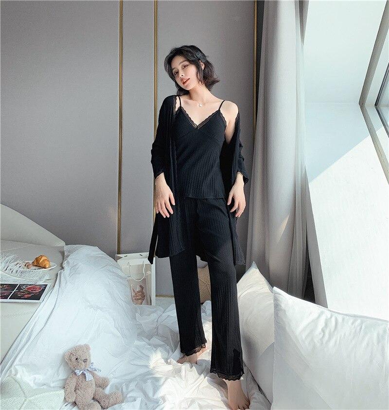 Daeyard pijamas de algodão femininas, pijama de