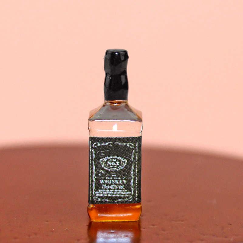 1:12 Dollhouse miniaturowe akcesoria Mini żywica wódka wino w butelce szklany zestaw symulacja napój zabawkowy model do dekoracja do domku dla lalek